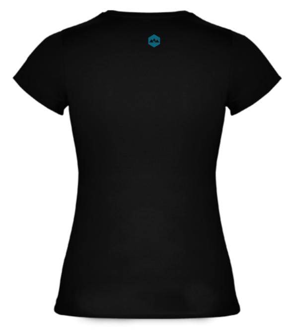 T Shirt Coton Bideantrail Noir/ Bleu Emeraude