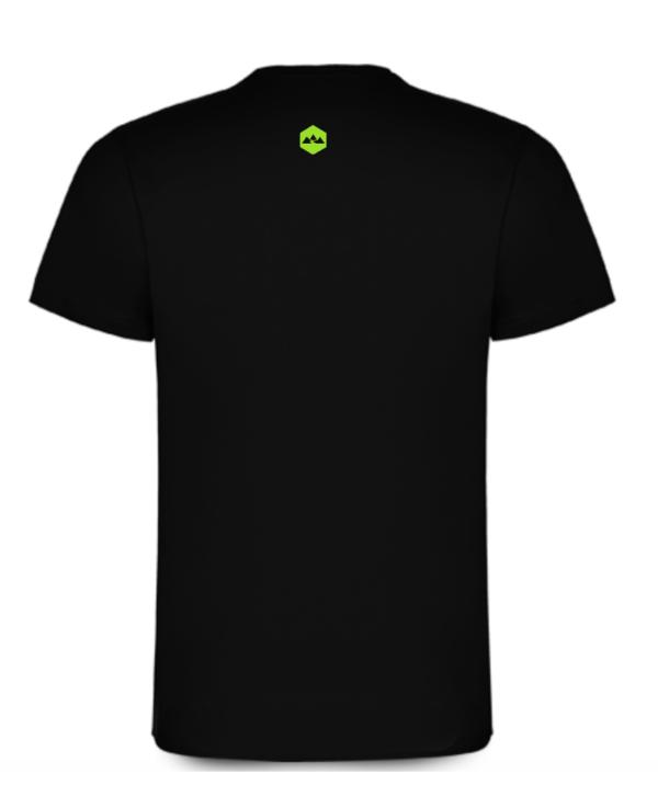 T Shirt Coton Bideantrail Noir / Vert fluo